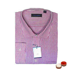 Peter England Striped Shirt (full shirt) with free Roli Tilak and Chawal.