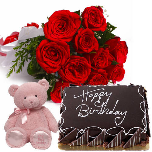 Pretty Roses Bunch with Eggless Chlocolate Cake   Teddy