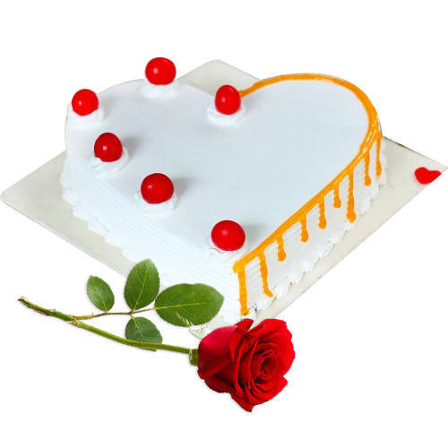 Classic Duo of Heart Shape Vanilla Cake N Red Rose