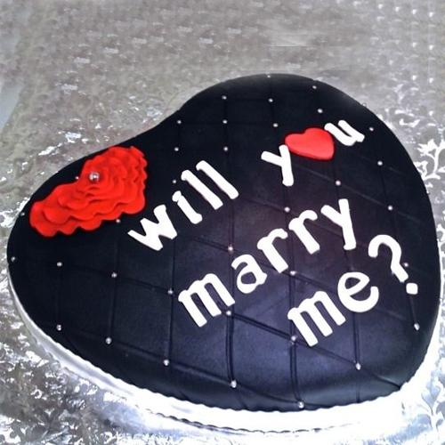 Chocolate-Coated Heart Shape Fondant Cake for Propose Day
