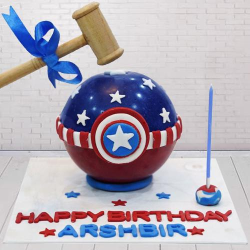 Exceptional Captain America Smash Cake with Hammer for Kids