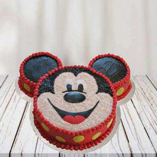 Luscious Mickey Mouse Shape Cake for Youngster