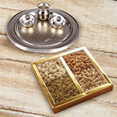 Enticing Assorted Dry Fruits Pack with Silver Plated Puja Thali