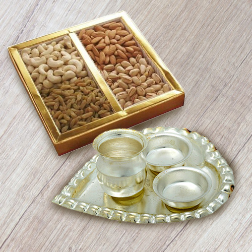 Silver Plated Paan Shaped Puja Aarti Thali (weight 52 gms) with Assorted Dry Fruits