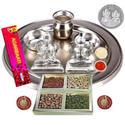 Silver Laxmi Puja Hamper with Dry Fruits