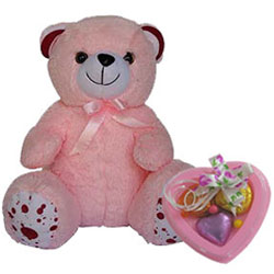 Exclusive Miss You Combo of Soft Teddy with Heart Shape Handmade Chocolate