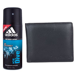 Set of Longhorns Leather Wallet and Addidas Deo