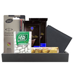 Gift Hamper of Longhorns Leather Wallet with Parker Pen  N  Chocolates