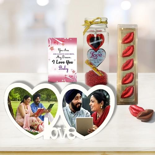 Breathtaking Selection of Personalized Photo Frame with Chocolate n Love Bottle