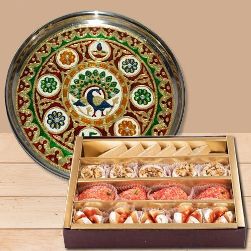 Exquisite Subh Labh Stainless Steel Thali with Haldirams Sweets