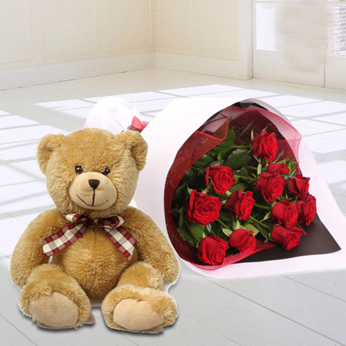 Teddy N Red Rose Bouquet