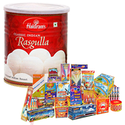 Memorable Hamper of Haldiram Rasgulla and Crackers