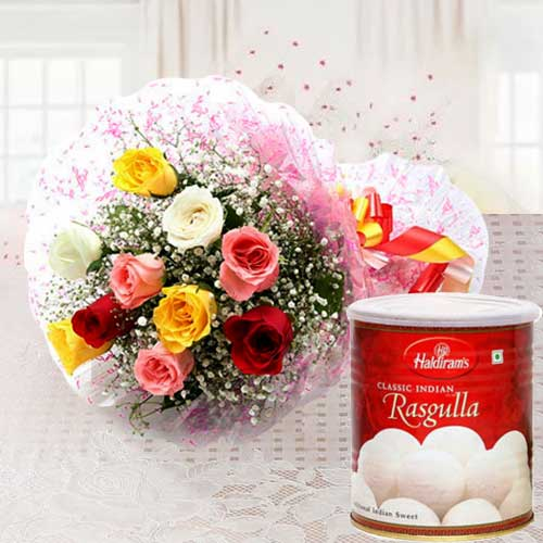 Delicious Haldirams Rasgulla with Mixed Roses