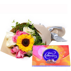 Captivating Bouquet of Mixed Flowers with Delicate Cadbury Celebration