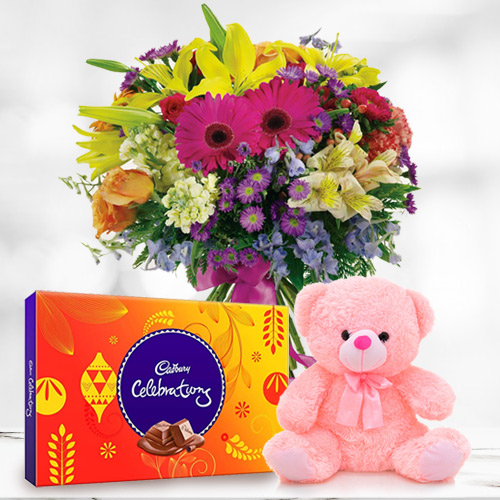 Pretty Mixed Flowers with Cadbury Celebrations N Teddy