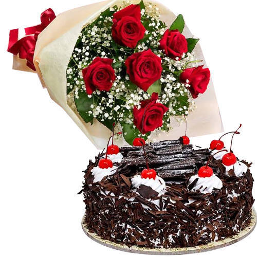 Joyous Birth-Day Combo of Mixed Roses with Delicious Black Forest Cake
