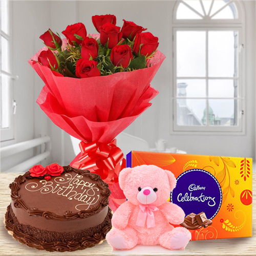 Charming Rose Bouquet, Chocolate Cake, Teddy with Cadbury Celebrations