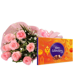 Anniversary Celebration Combo of Cadbury Dairy Milk Celebration  and Pink Rose