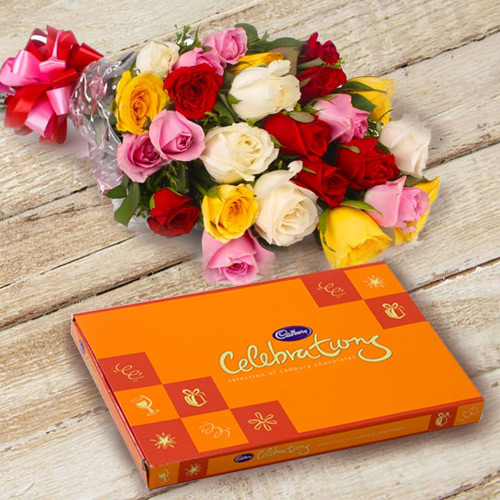 Graceful Mixed Roses with Famous Cadbury Celebration for Anniversary
