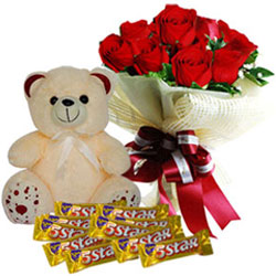 Charming Red Roses Bouquet with Cadbury 5 Star N Teddy