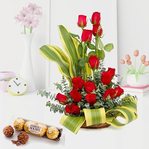 Romantic Arrangement of Red Roses with Ferrero Rocher