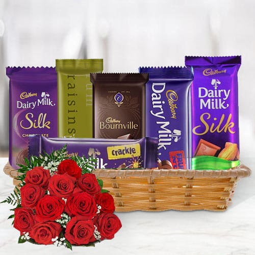 Gift Hamper of Cadbury Chocolates with Red Roses