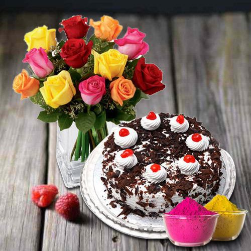 Exclusive multicolor Roses with yummy Black Forest Cake from 5 Star Bakery