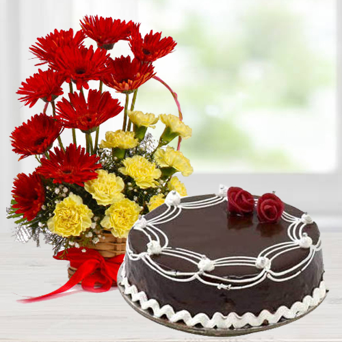 Basket of Carnations N Gerberas with Chocolate Cake
