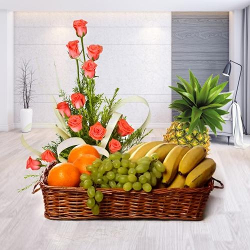 Combo of Fruits Basket with Pink Roses