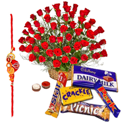 Amazing Rakhi Special Assorted Cadbury Chocolates and Red Roses Bunch Gift Set with Rakhi, Roli Tilak and Chawal for your Dear Brother