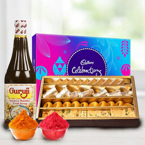 Assorted sweets with Thandai and Cadburys Celebration