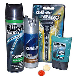 Refreshing Gillette shaving pack with free Roli Tilak and Chawal