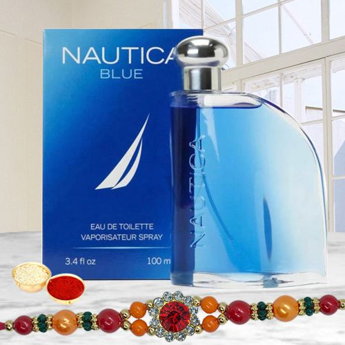 Impressionable Nautica Blue Perfume for Men with Rakhi Roli Tilak and Chawal for Special Rakhi Festival
