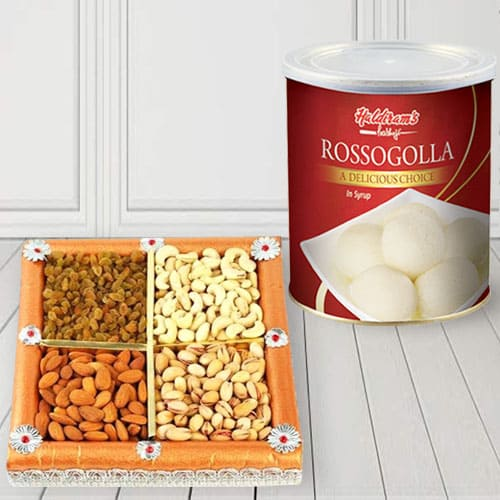 500 gms Assorted Dry Fruits with 1 Kg Haldiram Rasgulla