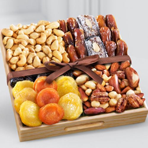Special Snacks time Dry Fruits in a Wooden Tray