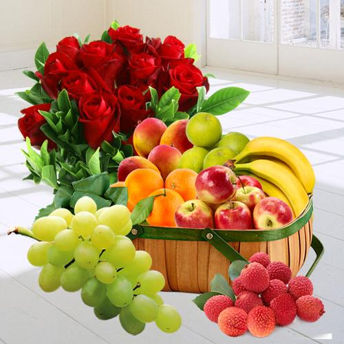 Fresh Fruit Gift Basket with Red Rose Bouquet