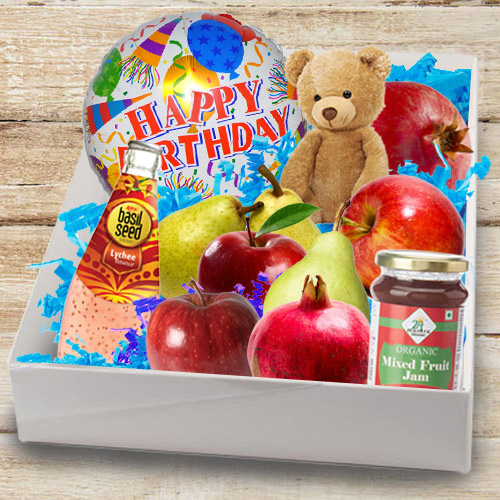 Delectable Box of Fresh Fruits N Assortments