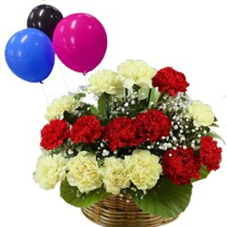 Mixed Color Carnations N Balloons Basket