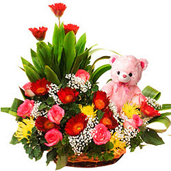 Passionate Unbreakable Love Floral Basket with Sweet Teddy