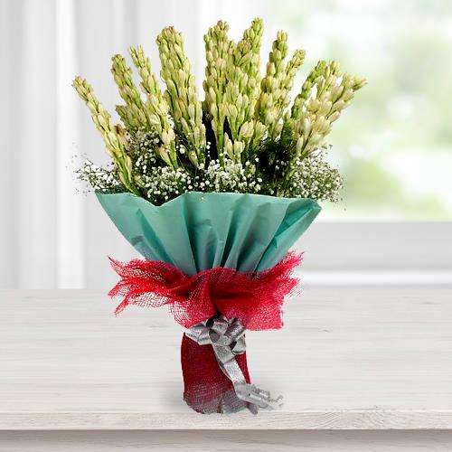 Exquisite Hand Bouquet of Tuberoses with Tissue Wrapping