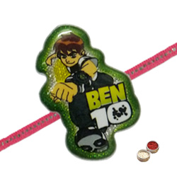 Eye-Catching Rakhi Wishes Superhero Ben 10 Rakhi with Free Roli Tilak and Chawal for your Dear Brother