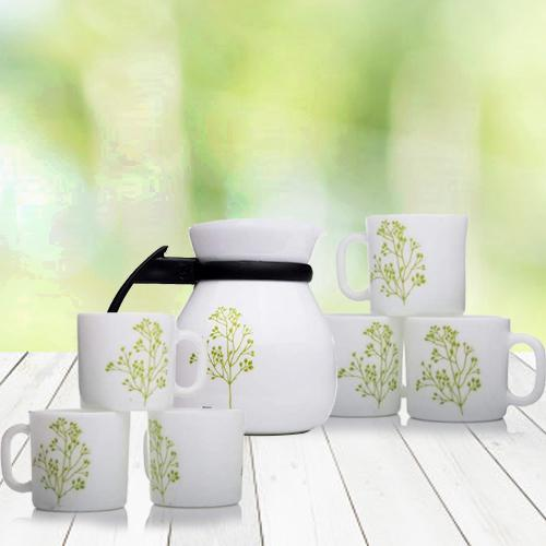 Attractive LaOpala White n Green Cup n Kettle Set