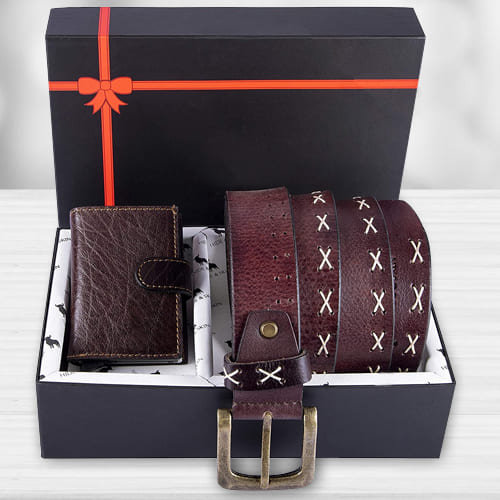 Alluring Hide and Skin Mens Leather Card Holder, Belt N KN95 Mask