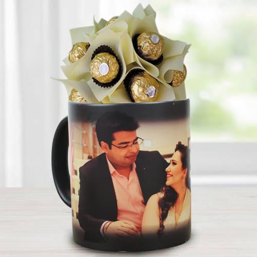 Lovely Ferrero Rocher Bouquet in Personalized Photo Magic Mug