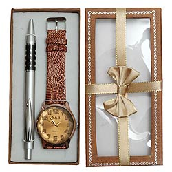 Premium gift hamper of classy Pen set with Watch (Japanese movement)
