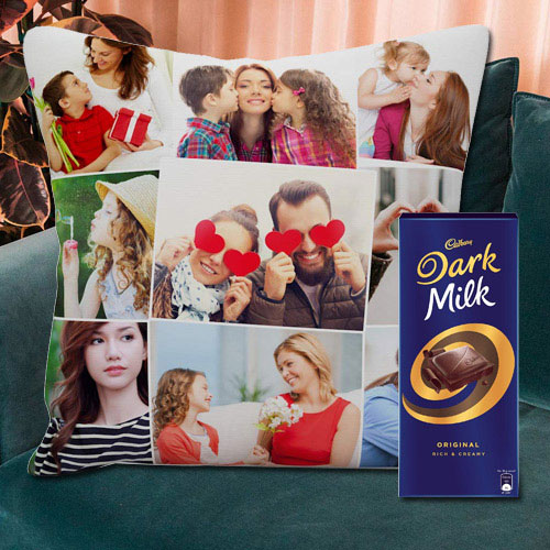 Lovely Personalized Cushion with a Cadbury Dark Milk Chocolate Bar