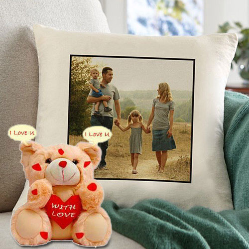 Exclusive Personalized Cushion with an I Love You Singing Teddy