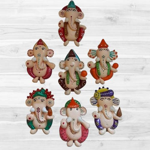 Attractive Handmade Ganesh Fridge Magnet Set of 7 pcs