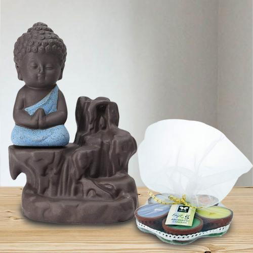 Divine Meditating Monk Buddha N Incense Holder with Iris Aroma Candles