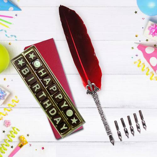 Marvelous Calligraphy Quill Set with Handmade Chocolates